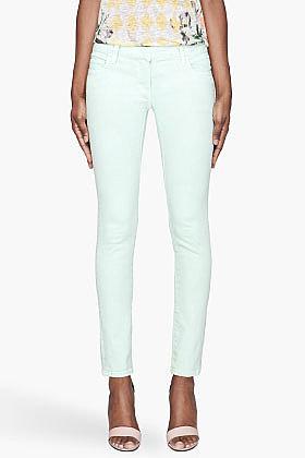 BALMAIN Pale mint green five-pocket Jeans