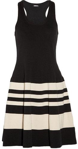 DKNY Striped stretch-cotton dress