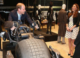 Kate laughed as William took a stationary ride on Batman's motorbike, the Batpod, when they attended the opening of Warner Bros. Studios Leavesden in London in April 2013.