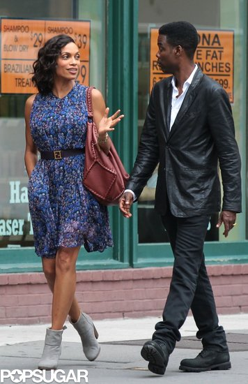 Rosario Dawson and Chris Rock were on the NYC set of Finally Famous on Monday.