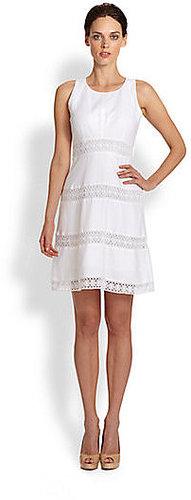 Laundry by Shelli Segal Laser-Cut Linen Dress