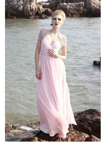 Pink Capsleeve Beaded V-neck A-line Chiffon Bridesmaid Quinceanera Dress PD80619