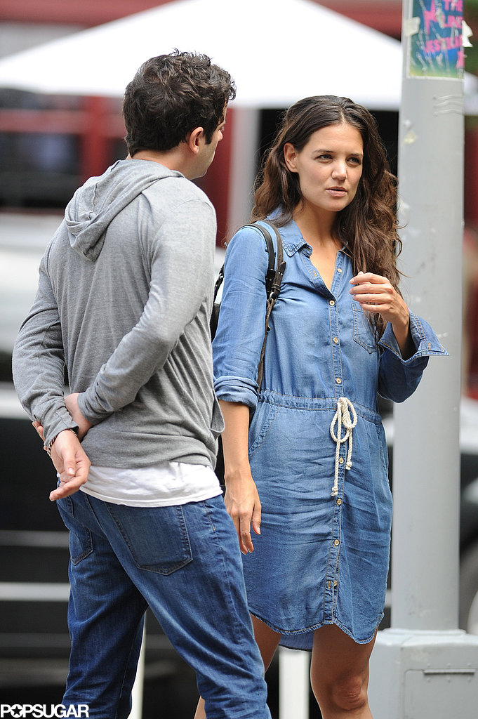 Katie Holmes wore a denim dress to film scenes with Luke Kirby on the set of Mania Days.