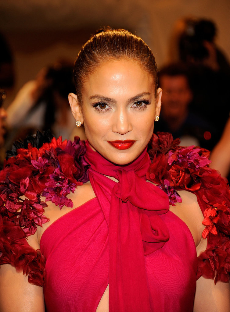 It's rare to see Jennifer in anything but her signature neutral lip look, but at the 2011 Met Gala, she coupled a fuchsia Gucci gown with a candy apple-red lipstick.