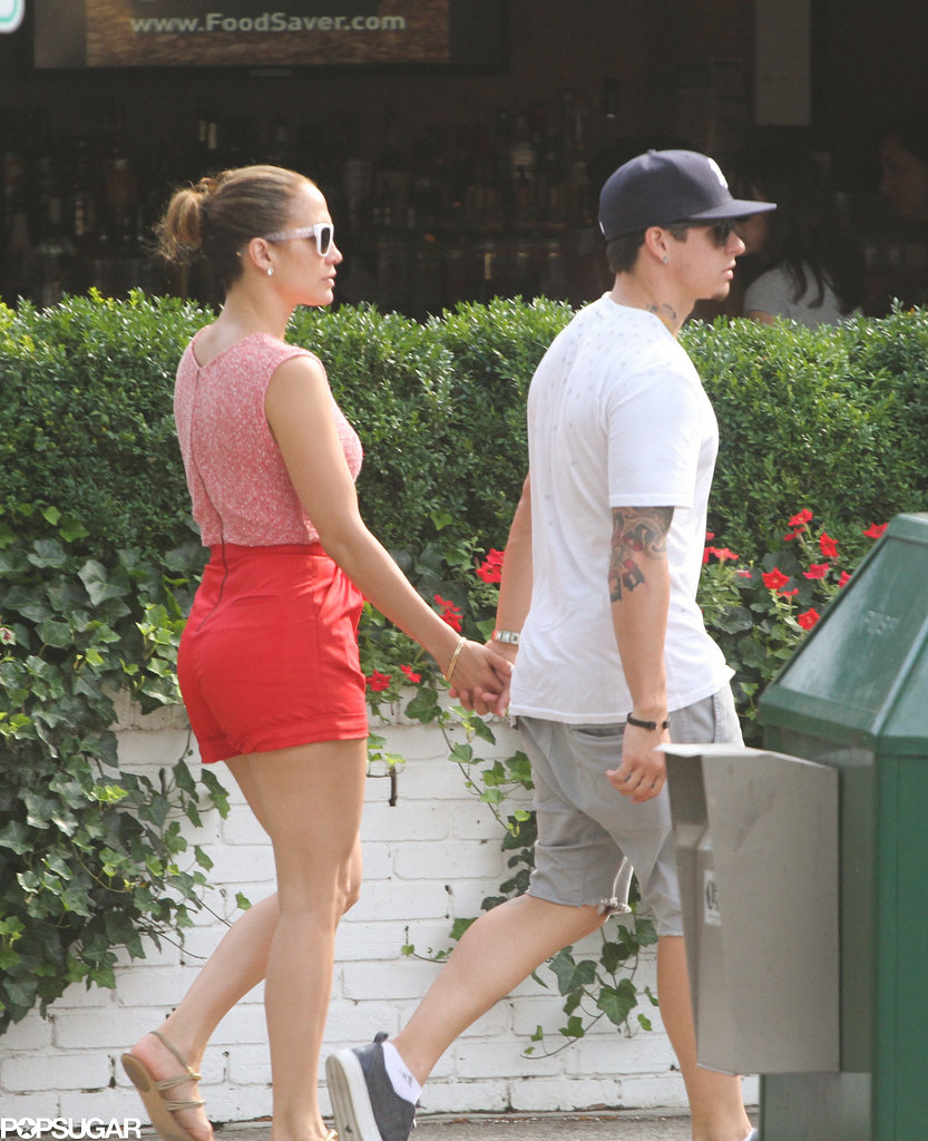 Jennifer Lopez wore short red shorts in the Hamptons.