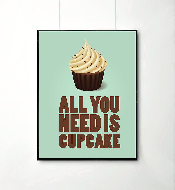 All you need is cupcake — and this art print ($17-$22)  to make a happy office.