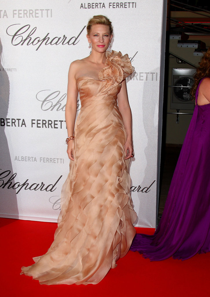 Cate was deliciously frothy in a peachy one-shoulder creation at the Cannes Film Festival in 2008.