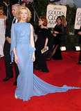 Cate showed off her svelte figure in a blue gown with floral appliques at the 62nd Annual Golden Globe Awards.
