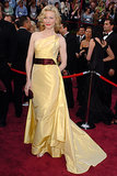 For the 77th Annual Academy Awards, Cate went with a pale yellow Valentino creation that featured a contrasting maroon belt. It was a unique color combo, but we're not surprised Cate took the risk.