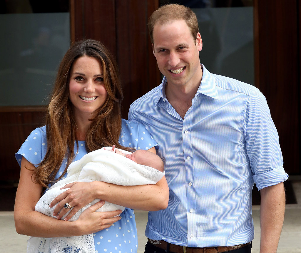 Now that's a family portait! The young royals posed for their first photo as a family on the steps of the Lindo Wing at St. Mary's Hospital in London on Juy 24.