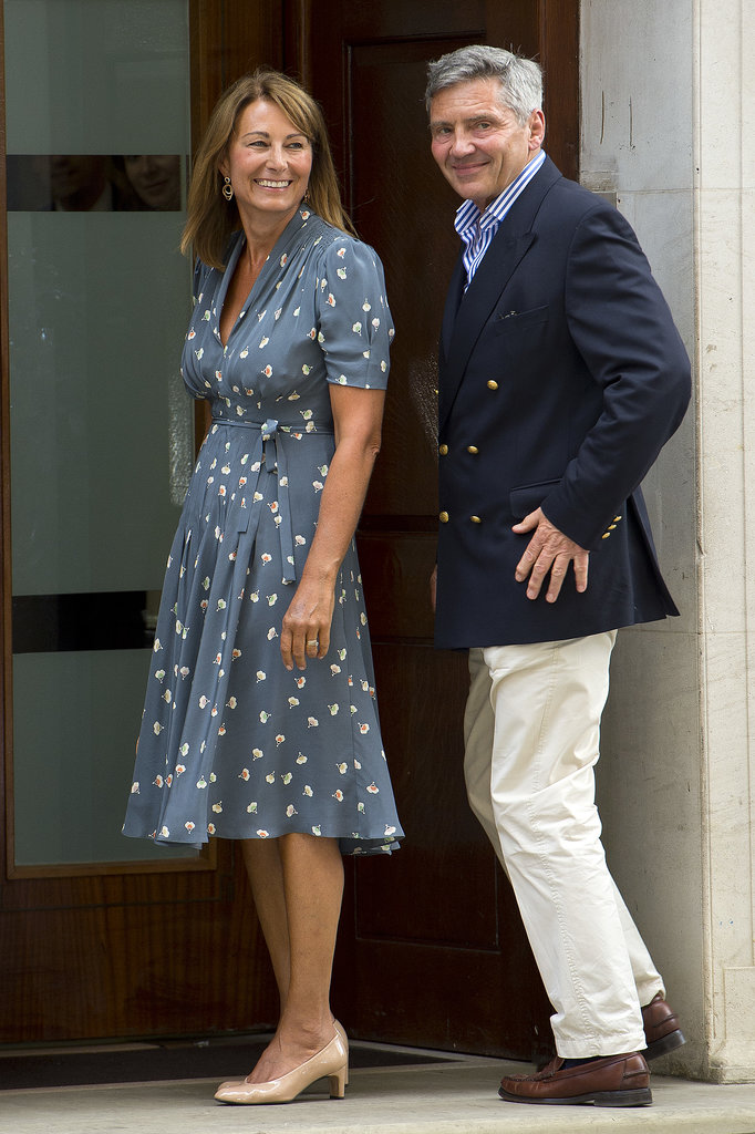 Carole and Michael Middleton looked suitably excited as they arrived at the Lindo Wing to visit their first grandson, newborn Prince George, on July 24.