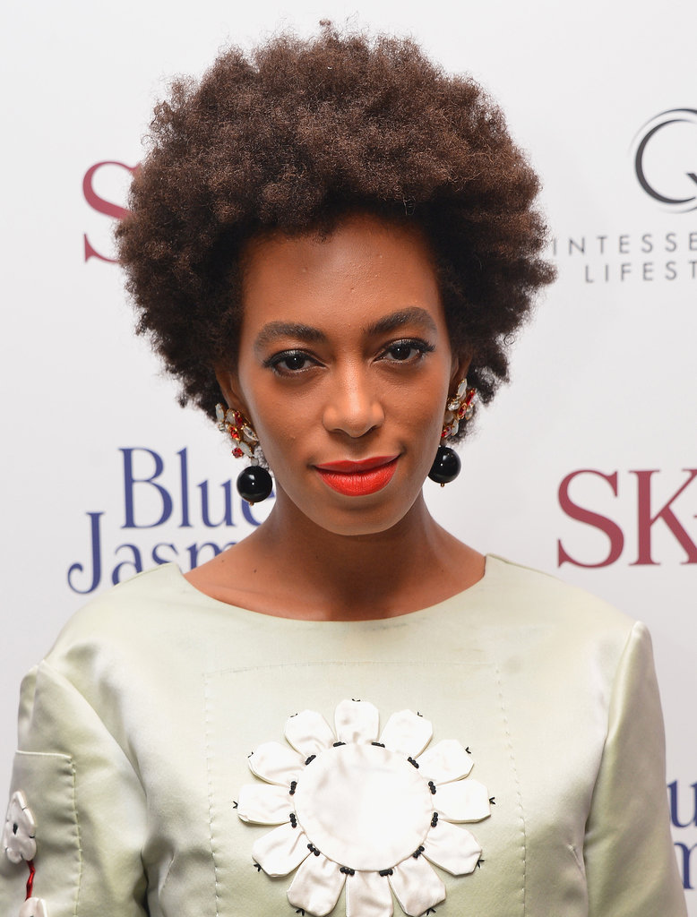 Also earlier this week, Solange Knowles was at the premiere of Blue Jasmine showing off her newly returned afro. She accented the look with a bright red lipstick.
