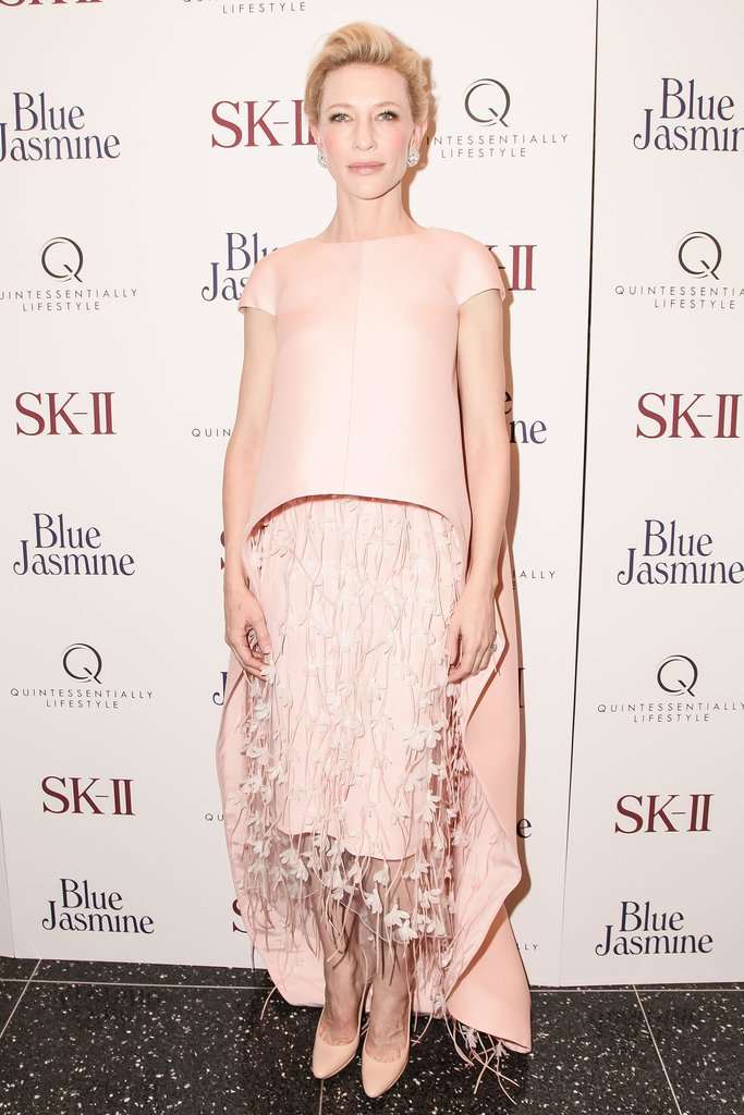 Cate Blanchett arrived at the NYC premiere of Blue Jasmine in this gorgeous Balenciaga dress — cue jaws dropping.