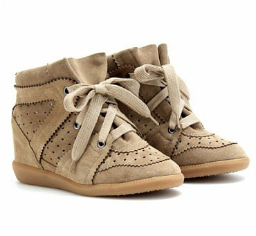 ISABEL MARANT BROWN BOBBY WEDGE SUEDE SNEAKERS