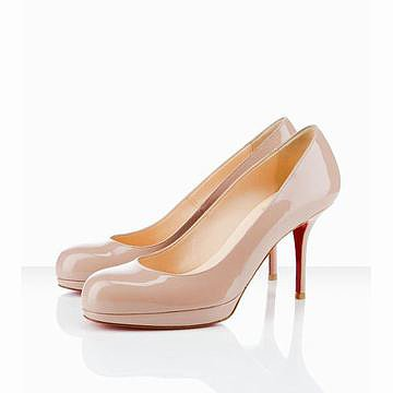 Red Bottom Christian Louboutin Prorata 90mm Platform Patent Leather Pumps Nude
