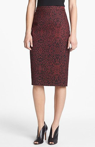 Halogen Print Pencil Skirt Red Cordovan/ Black Combo 6