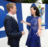 Katy Perry and Neil Patrick Harris greeted each other on the blue carpet.