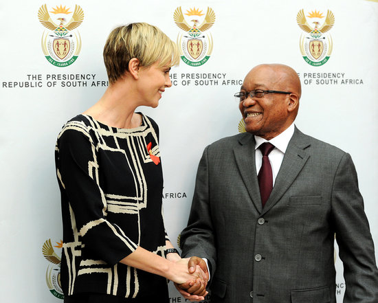 Charlize Theron shook hands with South African President Jacob Zuma.