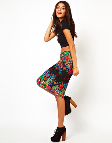 ASOS Pencil Skirt in Mirror Floral Placement Print