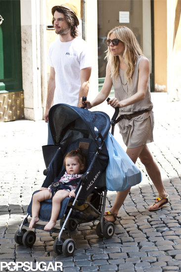 Sienna Miller pushed her daughter, Marlowe, for a walk in Rome with Tom Sturridge.