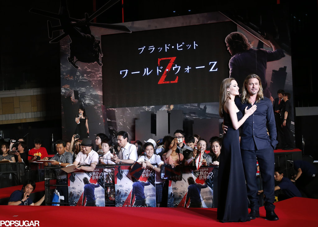 Angelina Jolie wore Saint Laurent when she attended Brad Pitt's Tokyo premiere of World War Z.