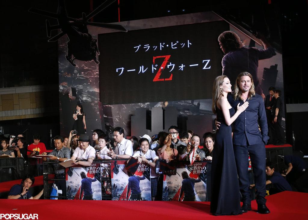 Angelina Jolie wore Saint Laurent when she attended Brad Pitt's Tokyo premiere of World War Z.