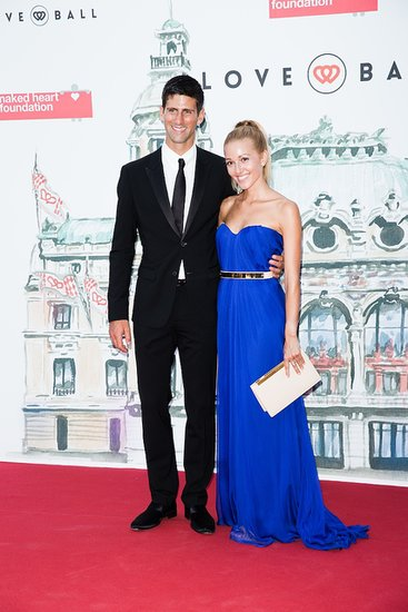 Novak Djokovic and Jelena Ristic stood out in a black-and-blue pairing on the red carpet.