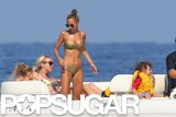 In July, Nicole Richie wore a gold bikini during an outing on the Mediterranean Sea.