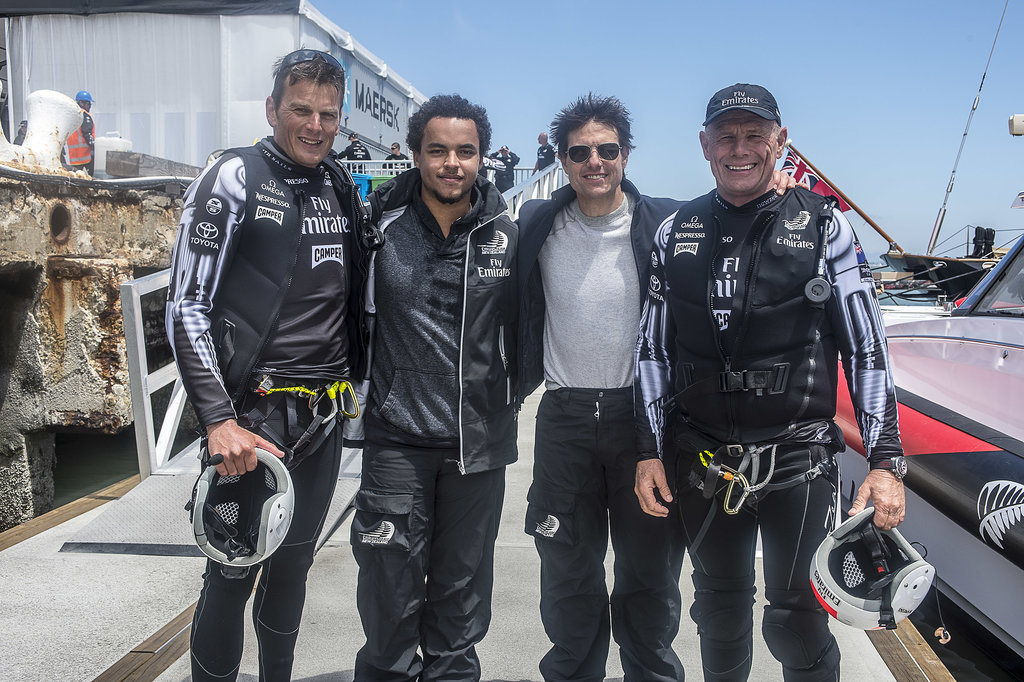 Tom Cruise and his son, Connor Cruise, posed with members of the winning team. Source: Chris Cameron/Emirates Team New Zealand