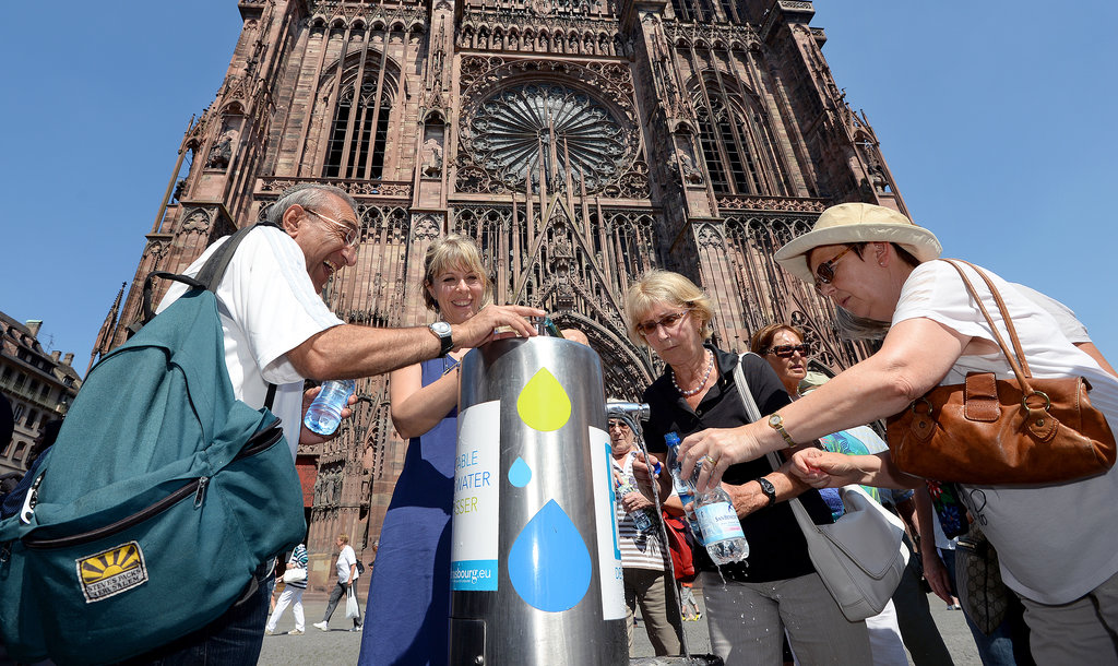In Strasbourg, France, prudent tourists filled up their water bottles.