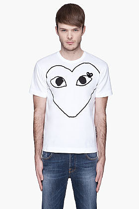 COMME DES GARÇONS PLAY White Black Logo T-Shirt