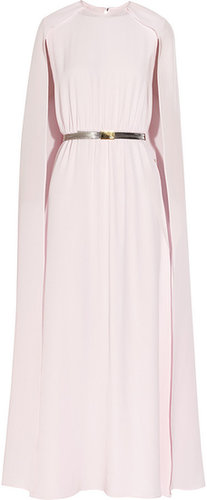 Alessandra Rich Ribbon-sleeve silk crepe de chine gown