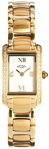 Rotary Gold Plated Watch With Stone Set Detail