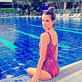Alessandra Ambrosio showed off a cool, colorful one-piece swimsuit while hanging poolside in Colombia. Source: Instagram user alessandraambrosio