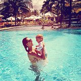 Alessandra Ambrosio shared a sweet moment with her son, Noah, in the pool during a family vacation. Source: Instagram user alessandraambrosio