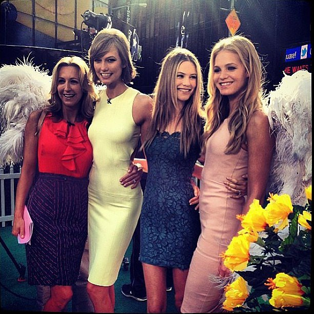 Victoria's Secret Angels Karlie Kloss, Behati Prinsloo, and Erin Heatherton wore their wings for an appearance on Good Morning America. Source: Instagram user behatiiprinsloo