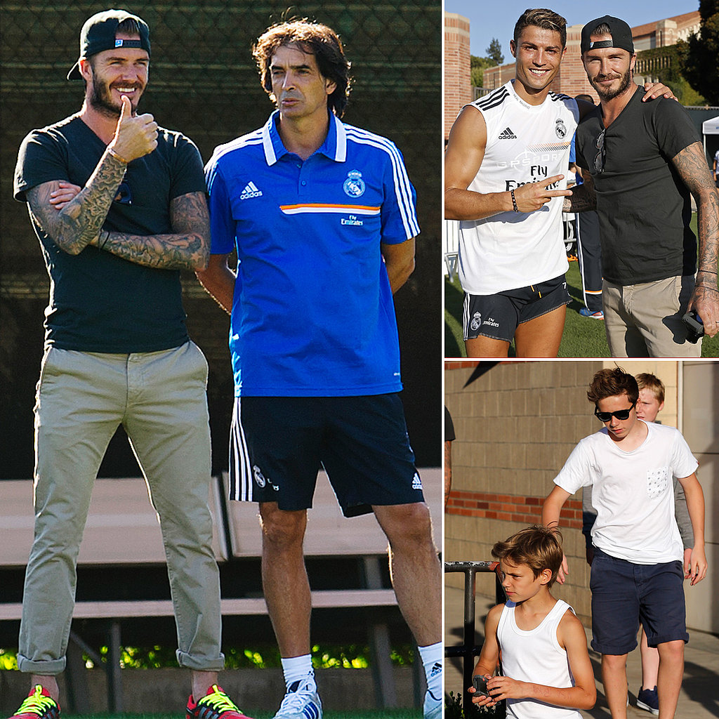 Football Flashback! David Beckham Brings His Boys to Watch His Former Team Train