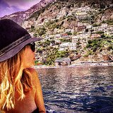 Ashley Benson covered her hair in a fedora cap to keep the sun at bay while seeing a few sights and sunbathing.  Source: Instagram user itsashbenzo