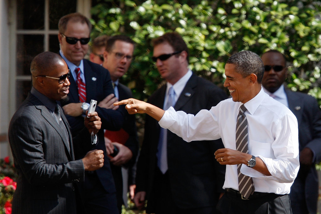 President Obama joked around with Jamie Foxx in October 2010 during the Moving America Forward rally at USC.