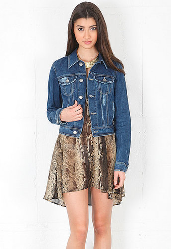 Free People Ripped Rugged Denim Jacket in True Blue