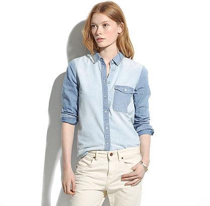 Two-tone chambray shirt