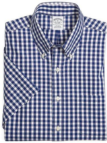 Supima® Cotton Non-Iron Slim Fit Short-Sleeve Gingham Sport Shirt