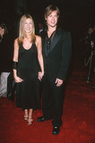 Jennifer wore a black halter slip dress and a satin wrap for an American Film Institute soiree in 2000. Brad Pitt looked equally dashing in a black suit and sheer embroidered shirt.
