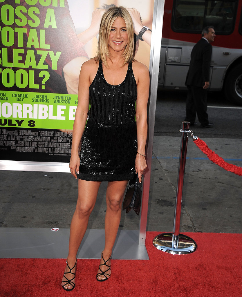 Aniston sparkled in an embellished Balenciaga racerback mini for the LA premiere of Horrible Bosses in June 2011.