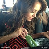 Vampire Diaries star Nina Dobrev stayed healthy with an on-the-go green juice.  Source: Instagram user ninadobrev