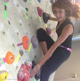 On a climb up the bouldering wall, actress Nina Dobrev found a friend in Buddha.  Source: Instagram user ninadobrev