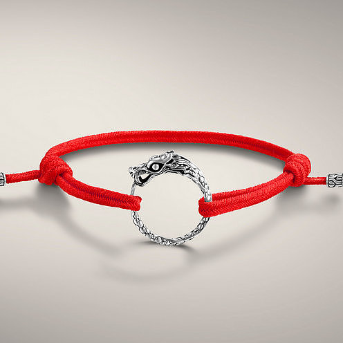 NAGA COLLECTION Dragon Station Bracelet on adjustable Red Cotton Cord