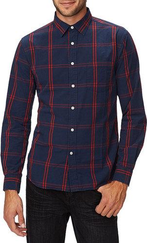 21 MEN Slim Fit Plaid & Chambray Shirt