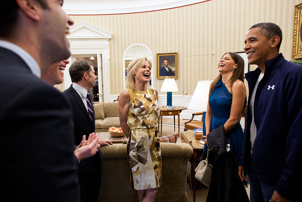 President Obama laughed alongside Modern Family's Sofia Vergara, Julie Bowen, and Jesse Tyler Ferguson while they were in town for the White House Correspondents' Dinner in April 2012. Source: Flickr user The White House