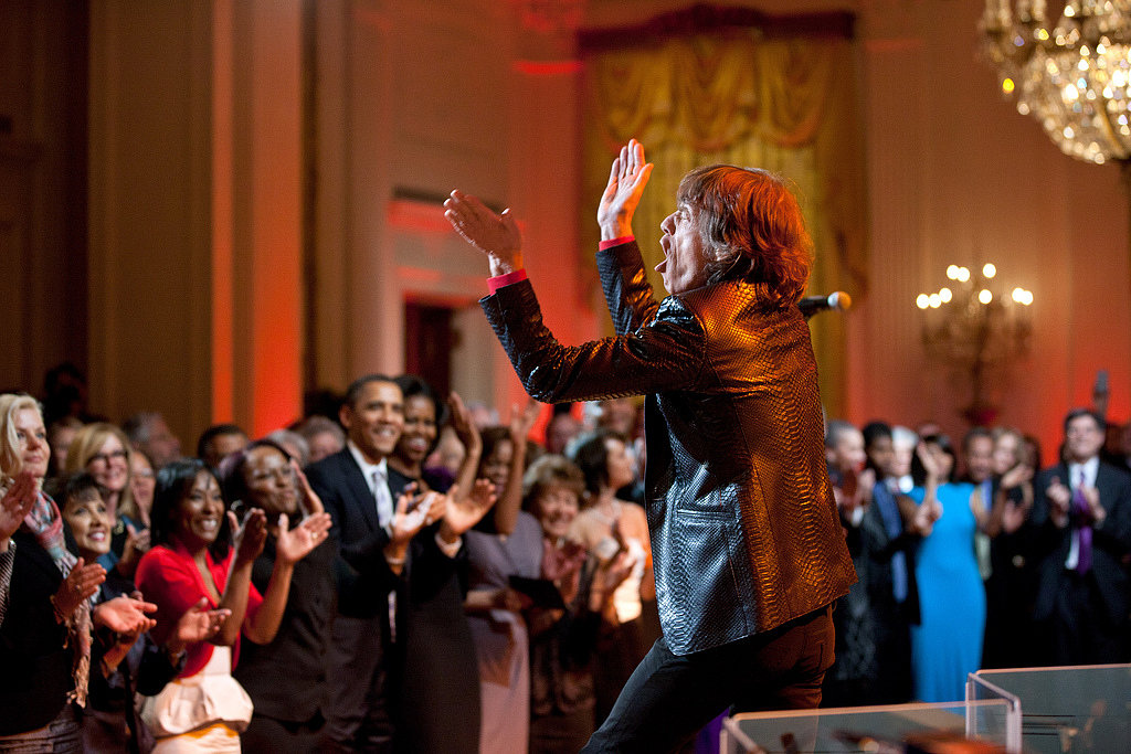 President Obama and the first lady watched from the front row as Mick Jagger performed at the White House in February 2012. Source: Flickr user The White House
